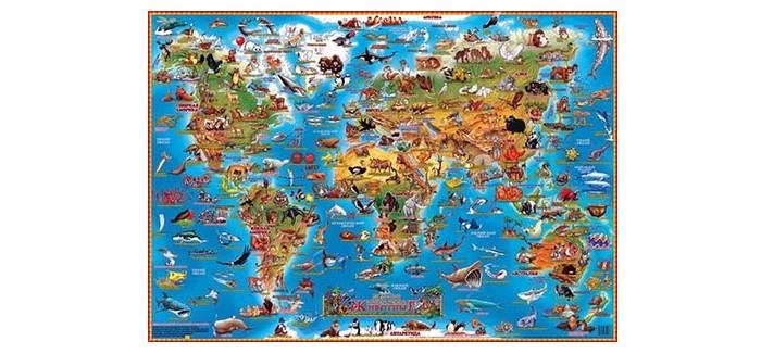 Атласы и карты Геоцентр Детская карта мира Животные настольная бумбарам настольная двухсторонняя карта мира для детей