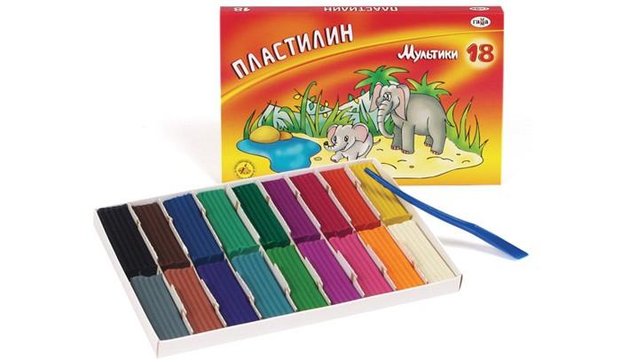 Всё для лепки Гамма Пластилин Мультики 18 цветов со стеком всё для лепки мульти пульти пластилин со стеком приключения енота 16 цветов 320 г