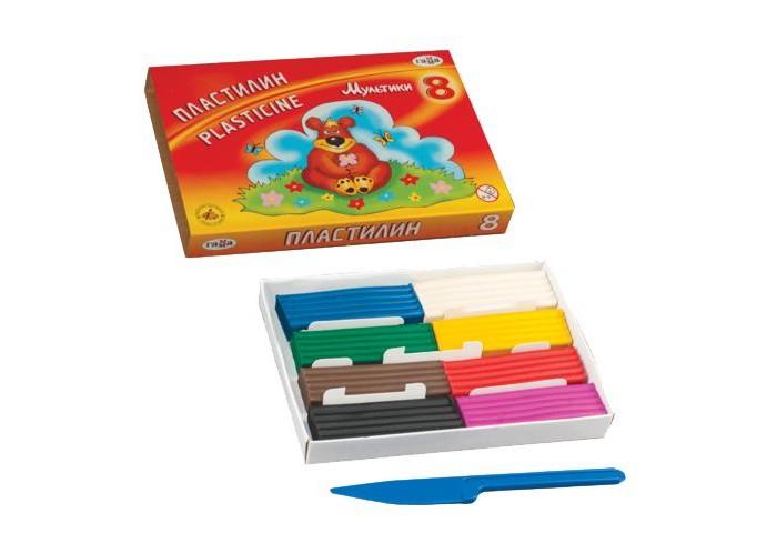 Всё для лепки Гамма Пластилин Мультики, 8 цветов всё для лепки мульти пульти пластилин со стеком приключения енота 16 цветов 320 г