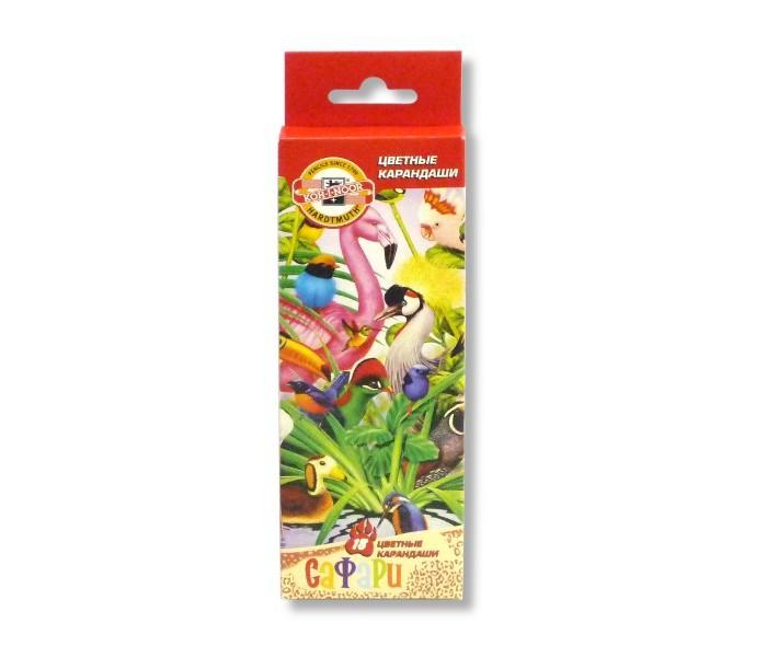 Карандаши, восковые мелки, пастель Koh-i-Noor Набор цветных карандашей Птицы, 18 цветов bic набор цветных карандашей tropicolors 12 цветов