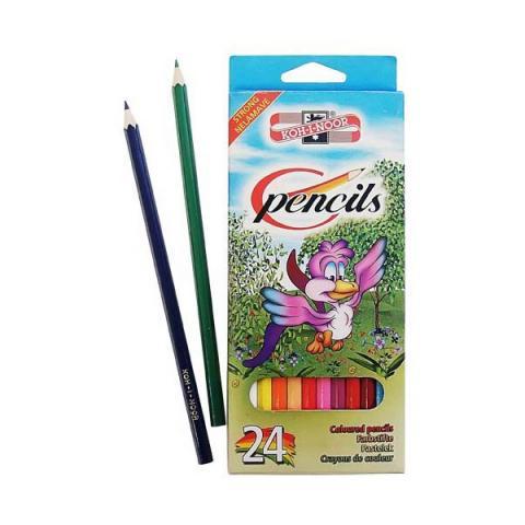 Карандаши, восковые мелки, пастель Koh-i-Noor Набор цветных карандашей Птицы, 24 цвета карандаши koh i noor набор карандашей 24 цвета