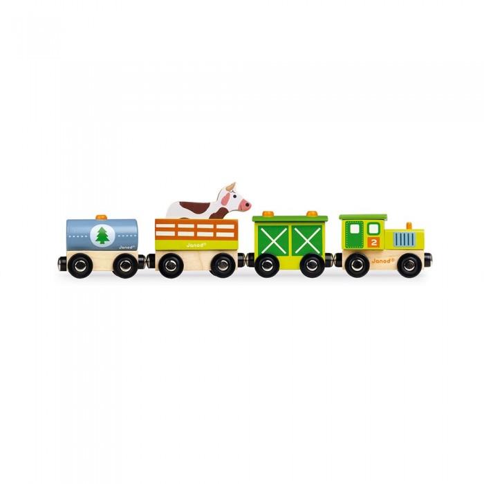 Деревянные игрушки Janod Поезд на магнитах с фигурками Ферма