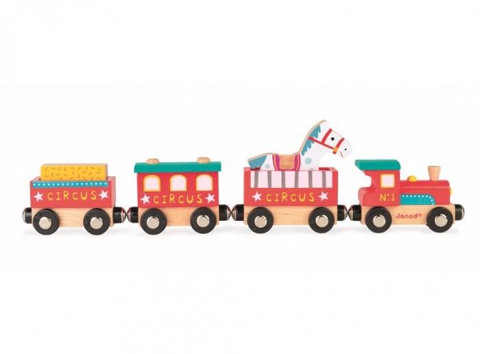 Деревянные игрушки Janod Поезд на магнитах с фигурками Цирк