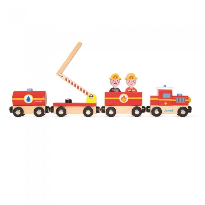 Деревянные игрушки Janod Поезд на магнитах Пожарные с фигурками