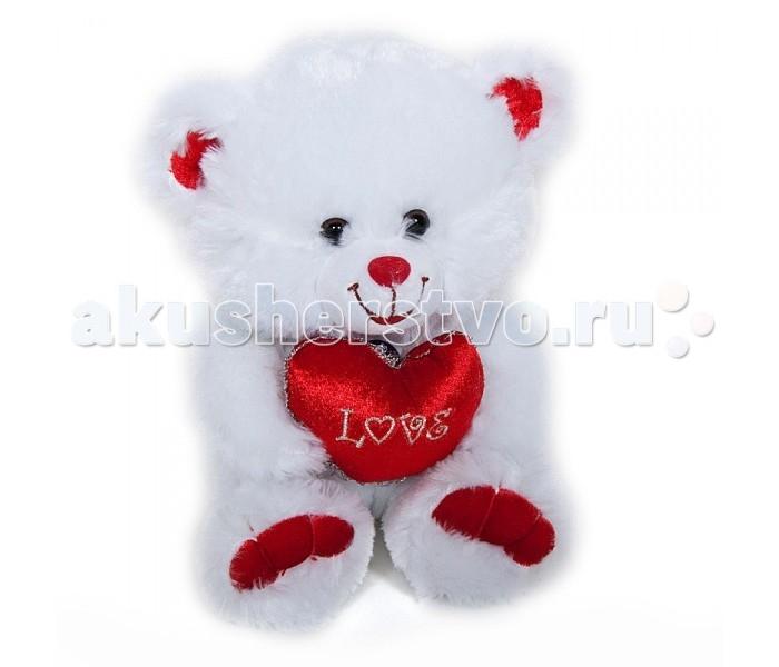 Мягкая игрушка Lava Медведь белый с сердцем музыкальный 26 см