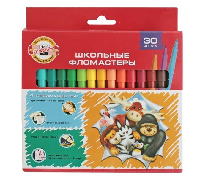 Фломастеры Koh-i-Noor Набор школьных фломастеров Веселые животные, 30 цветов фломастеры стамм веселые игрушки 18 цветов фв05