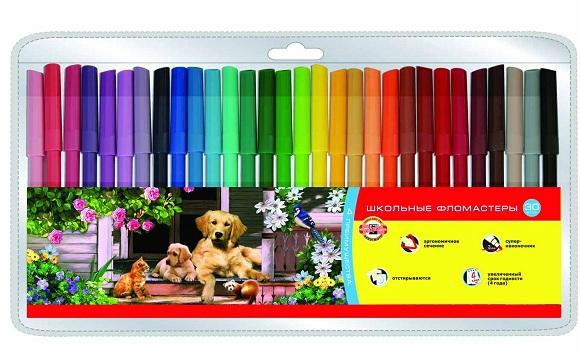 Фломастеры Koh-i-Noor Набор школьных фломастеров Домашние животные, 30 цветов kiddieland набор домашние животные