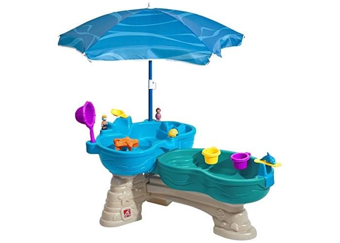 Step 2 Столик для игр с водой КаскадСтолик для игр с водой КаскадStep 2 Столик для игр с водой Каскад для улицы и помещения.   Состоит из двух емкостей на разном уровне, соединенных между собой переливом. Игровая зона поднята на уровень рук ребенка, что создает комфортные условия игры;  В комплект входят аксессуары в количестве 11 шт., зонт.  Вместимость емкостей: верхний ярус 8 литров воды, нижний 12 литров.<br>