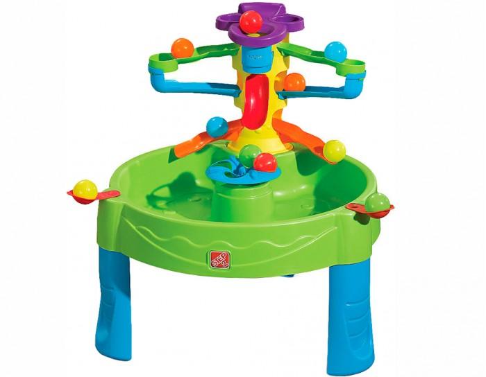 Step 2 Столик-песочница игровой Три в одномСтолик-песочница игровой Три в одномStep 2 Игровой столик Три в одном для улицы и помещения.  Особенности: Игровая зона поднята на уровень рук ребенка, что создает комфортные условия игры.  В комплекте: трехуровневый трек-желоб, в середине стола вертушка-карусель, 2 катапульты, игровые мячи.  Вмещает 15 литров воды.<br>