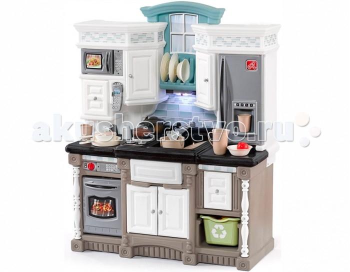 Step 2 Кухня Мечта 2Кухня Мечта 2Step 2 Кухня Мечта 2 станет отличным развлечением для ребенка.   Особенности: Кухня оснащена микроволновой печью(требуется 2 батарейки АА), духовкой(требуется 2 батарейки АА), плитой(требуется 2 батарейки АА), радио-телефоном(требуется 2 батарейки ААА) и светильником(требуется 3 батарейки ААА), выдвижными ящиками и шкафчиками, корзиной для фруктов и овощей, декоративным держателем для тарелок, раковиной с краном. Батарейки в комплект не входят. В комплекте: набор кухонных аксессуаров 38 предметов.<br>