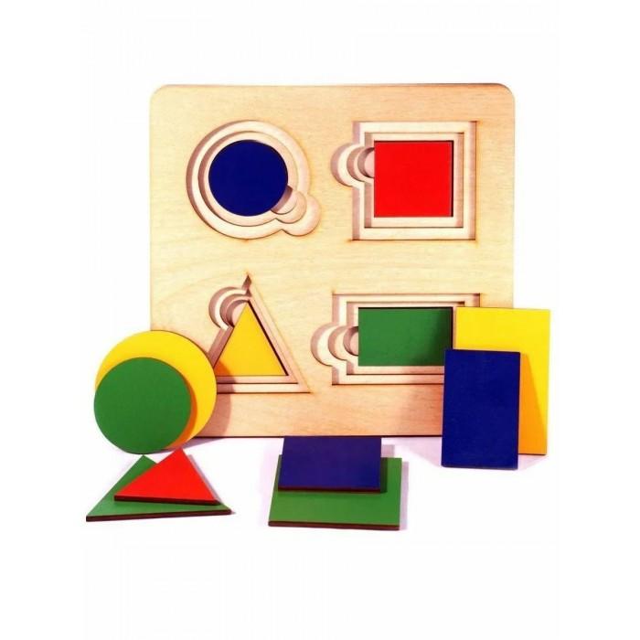 Купить Развивающие игрушки, Развивающая игрушка Нескучные Игры Доска Больше-меньше Геометрия (12 деталей)