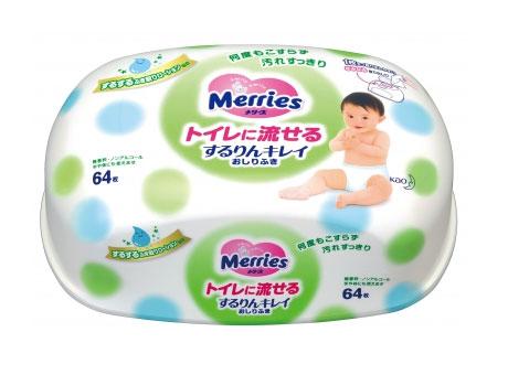 Салфетки Merries Влажные салфетки Flushable (контейнер 64 шт.) merries влажные салфетки для новорождённых 54 шт