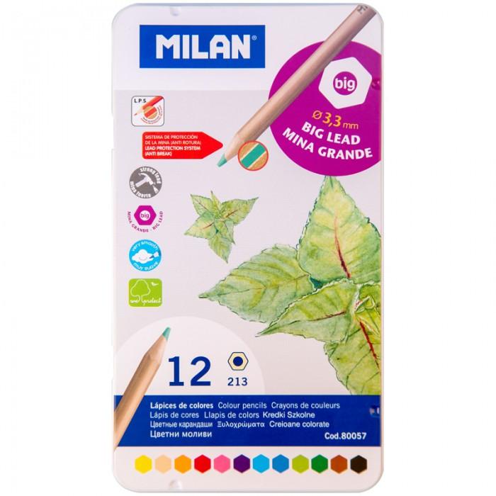 Карандаши, восковые мелки, пастель Milan Карандаши 213 12 цветов металлический пенал карандаши kin 12 цветов в металлическом пенале 3576 12