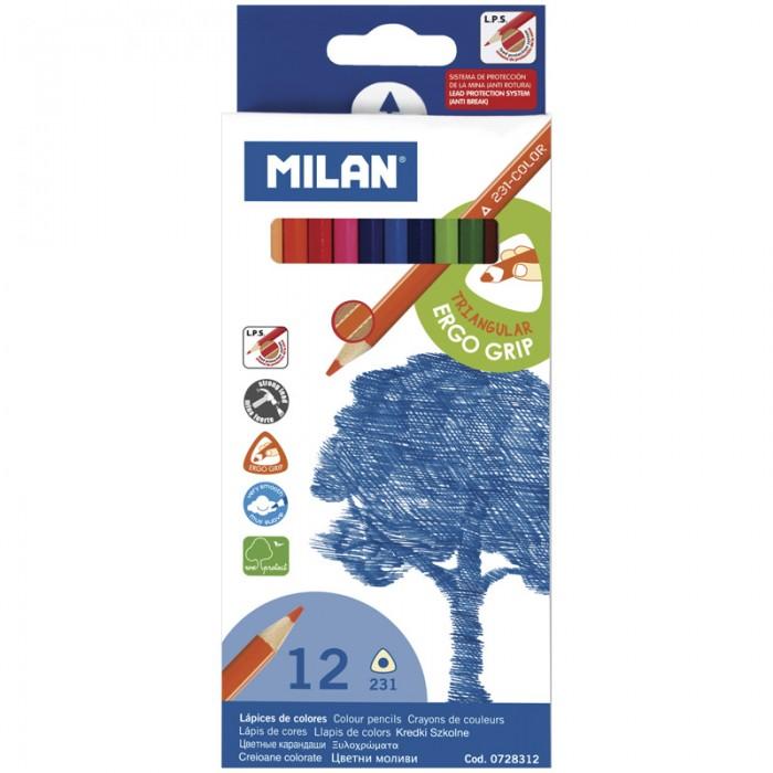 Карандаши, восковые мелки, пастель Milan Карандаши 231  12 цветов карандаши