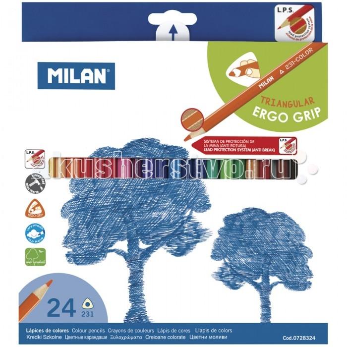 Карандаши, восковые мелки, пастель Milan Карандаши 231 24 цвета карандаши джунгли 24 цвета tz 4028