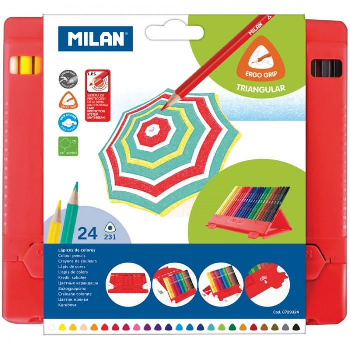 Карандаши, восковые мелки, пастель Milan Карандаши 231 24 цвета пластиковый пенал