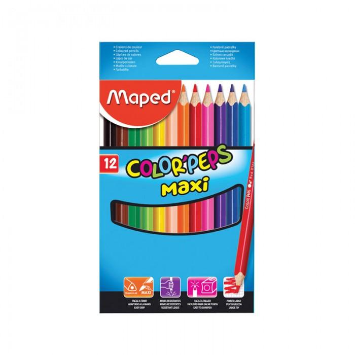 Карандаши, восковые мелки, пастель Maped Карандаши Color Peps Maxi 12 цветов фломастеры maped color peps ocean 12 цветов смываемые