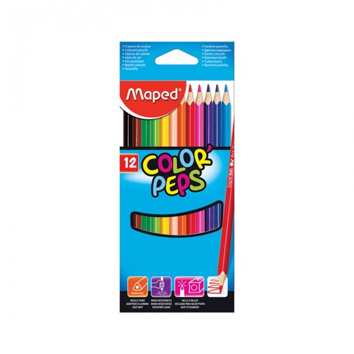 Карандаши, восковые мелки, пастель Maped Карандаши Color Peps 12 цветов карандаши цветные maped color peps 24цв трехгранные из липы двусторонние 829600