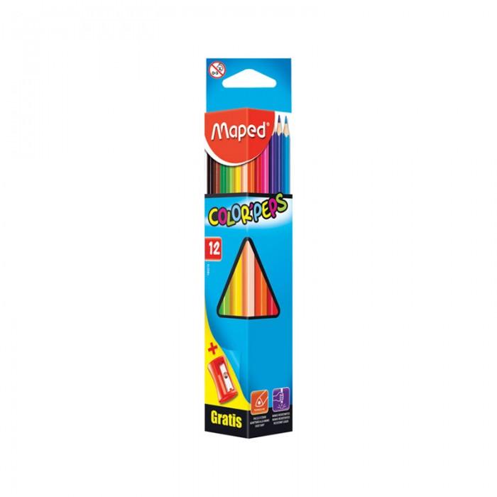 Карандаши, восковые мелки, пастель Maped Карандаши Color Peps 12 цветов с точилкой карандаши цветные maped color peps 24цв трехгранные из липы двусторонние 829600
