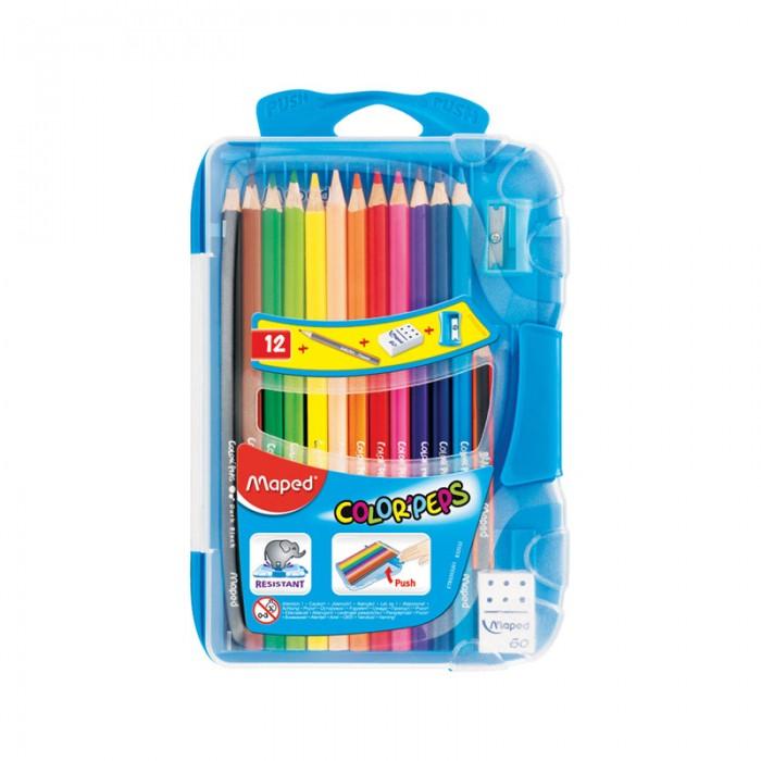 Карандаши, восковые мелки, пастель Maped Карандаши Color Peps 12 цветов в пластиковом пенале с точилкой и ластиком карандаши восковые мелки пастель maped карандаши color peps 12 цветов в тубусе подставке