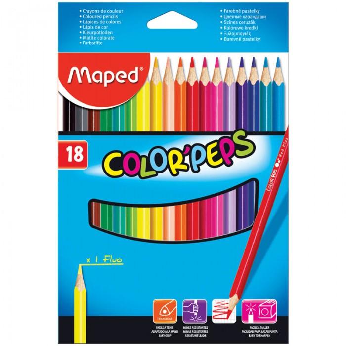Карандаши, восковые мелки, пастель Maped Карандаши Color Peps 18 цветов карандаши цветные двухсторонние maped color peps duo 12 карандашей 24 цвета