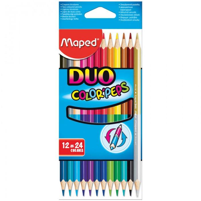 Карандаши, восковые мелки, пастель Maped Карандаши Color Peps Duo двухсторонние 24 цвета 12 шт. карандаши восковые мелки пастель maped карандаши color peps 12 цветов в тубусе подставке