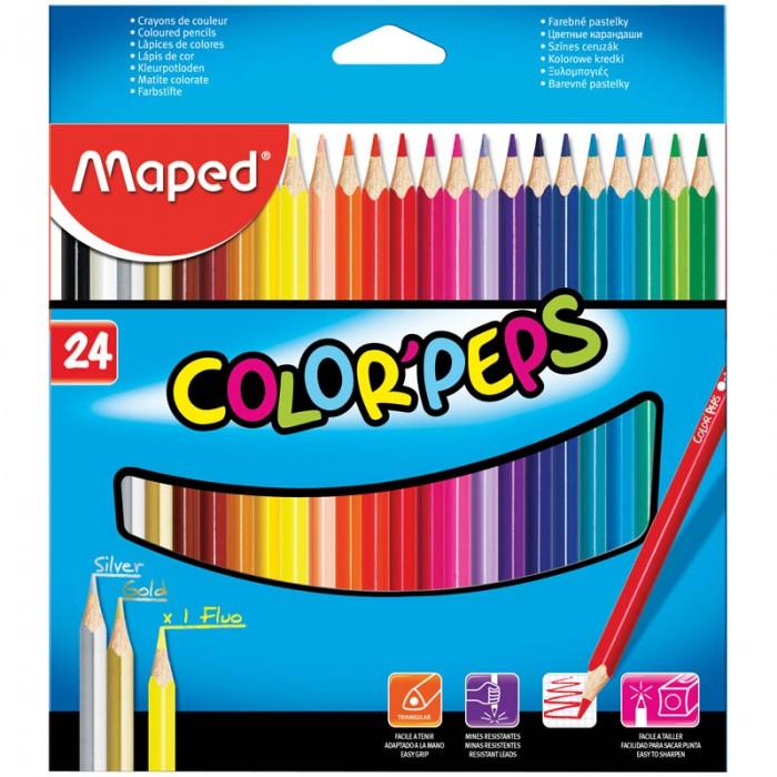 Карандаши, восковые мелки, пастель Maped Карандаши Color Peps 24 цвета карандаши цветные maped color peps 24цв трехгранные из липы двусторонние 829600