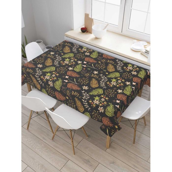 Товары для праздника JoyArty Скатерть на кухонный стол Листья на темном фоне 180x145 см недорого