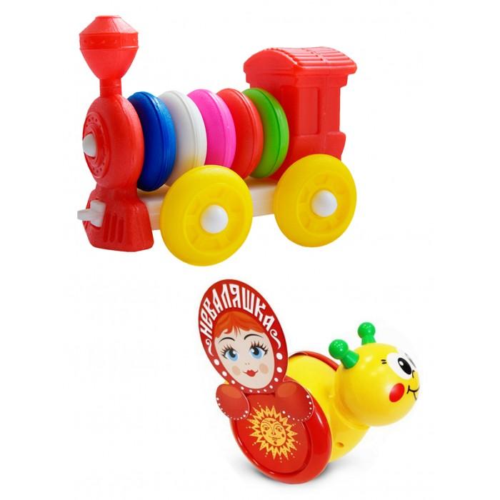 Купить Развивающие игрушки, Развивающая игрушка Тебе-Игрушка Каталка-неваляшка Улитка № 1 + Конструктор-каталка Паровозик