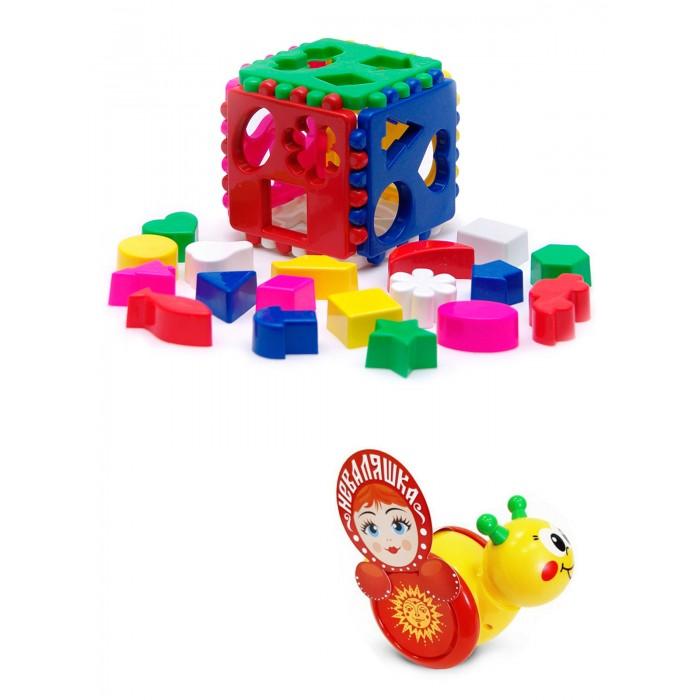 Купить Развивающие игрушки, Развивающая игрушка Тебе-Игрушка Каталка-неваляшка Улитка № 1 + Игрушка Кубик логический большой