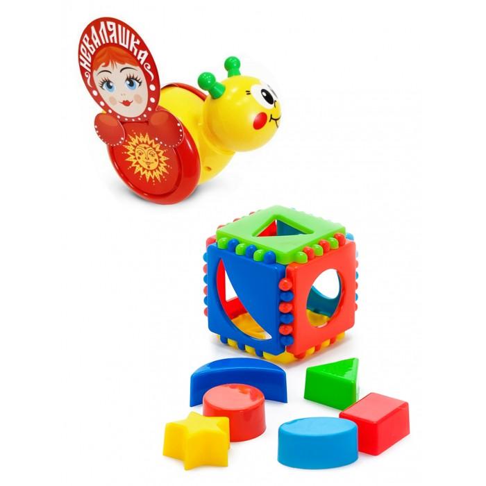 Купить Развивающие игрушки, Развивающая игрушка Тебе-Игрушка Каталка-неваляшка Улитка № 1 + Игрушка Кубик логический малый