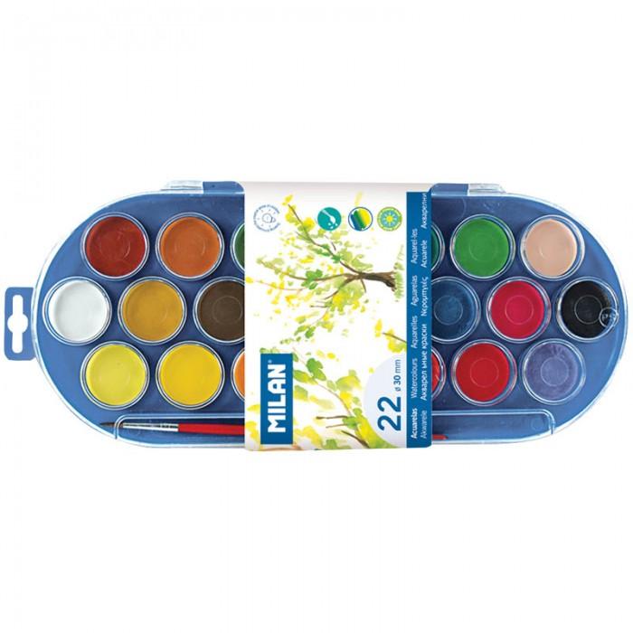 Краски Milan Акварель  с кистью 22 цвета питерская акварель 24 цвета