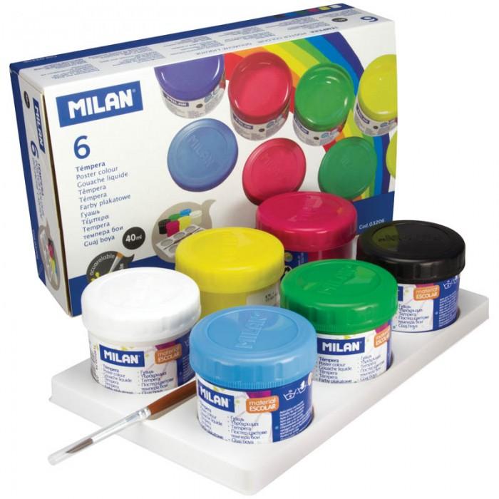 Краски Milan Гуашь с кистью 6 цветов 40 мл краски universal studios гуашь 6 цветов гадкий я