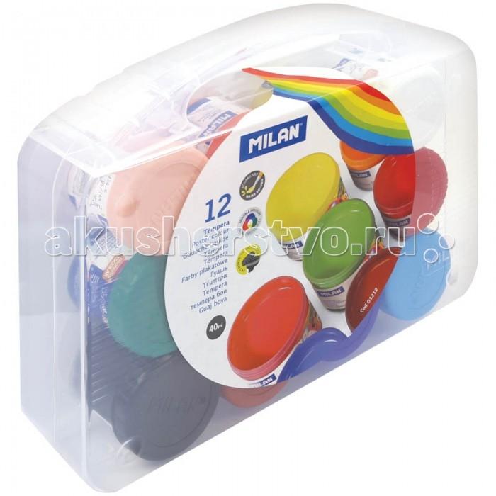 Развитие и школа , Краски Milan Гуашь с кистью 12 цветов 40 мл пластиковый бокс арт: 123044 -  Краски