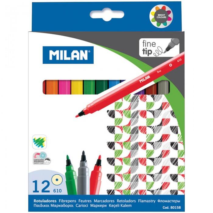 Фломастеры Milan 610 12 цветов развивающая игрушка happy baby молоток силач tukka музыкальная