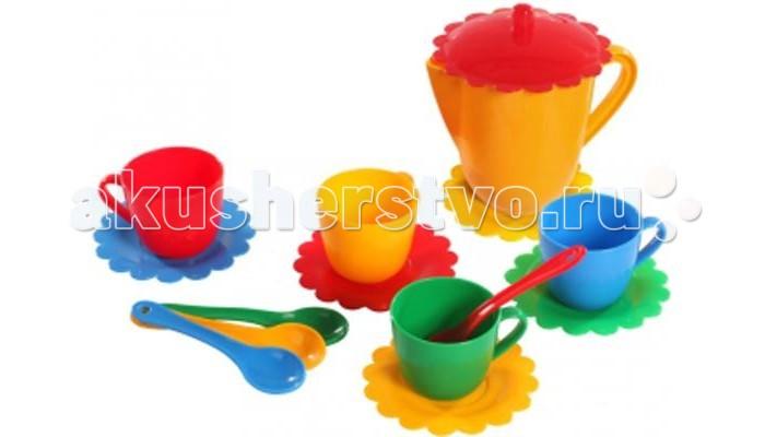 Фото - Кукольные домики и мебель Tigres Набор посуды Ромашка на 4 персоны с чайником Люкс набор посуды тигрес ромашка 39121 красный желтый зеленый синий