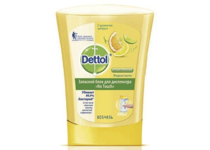 Косметика для мамы Dettol Цитрус запасной блок для диспенсера No Touch 250 мл запасной блок жидкого мыла dettol с ароматом зеленого чая и имбиря 250 мл