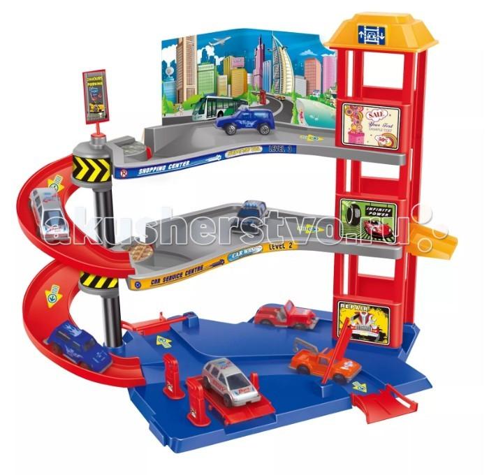 Машины Dave Toy Парковочная башня с 3 машинками