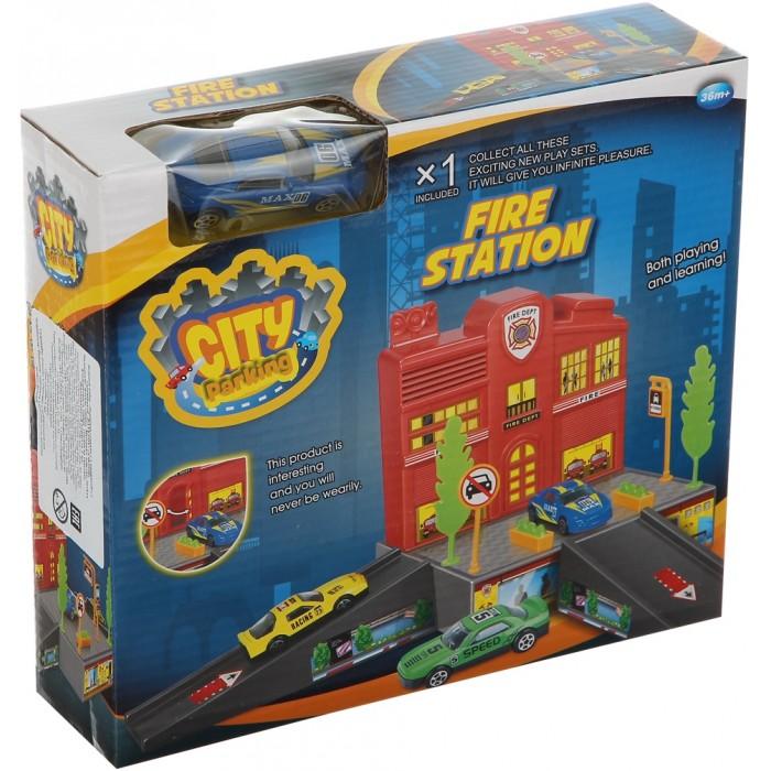 Машины Dave Toy Пожарная станция с 1 машинкой игровой набор dave toy заправочная станция с 1 машинкой