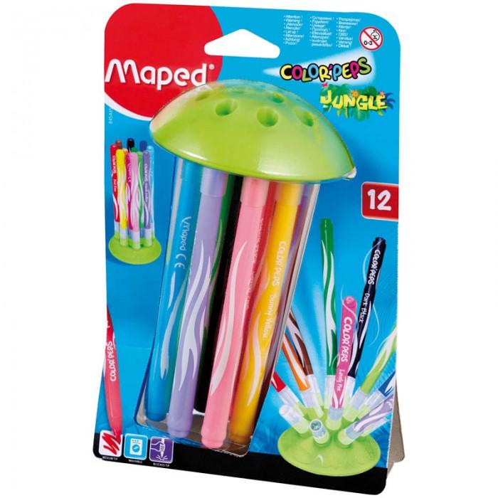 Фломастеры Maped Jungle Innovation 12 цветов набор цветных карандашей maped color peps 12 шт 683212 в тубусе подставке