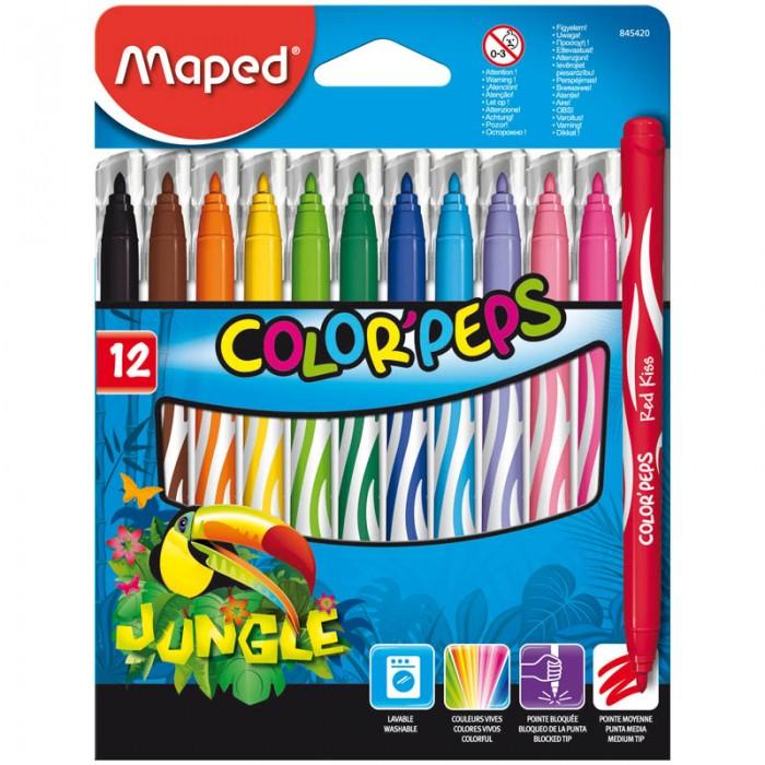Фломастеры Maped Jungle 12 цветов фломастеры maped color peps ocean 12 цветов смываемые