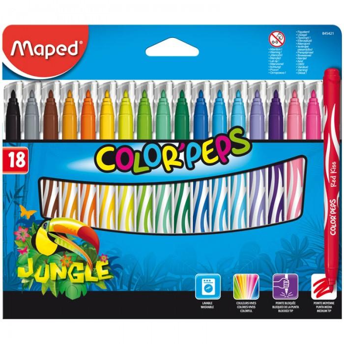 Фломастеры Maped Jungle 18 цветов фломастеры maped color peps ocean 12 цветов смываемые