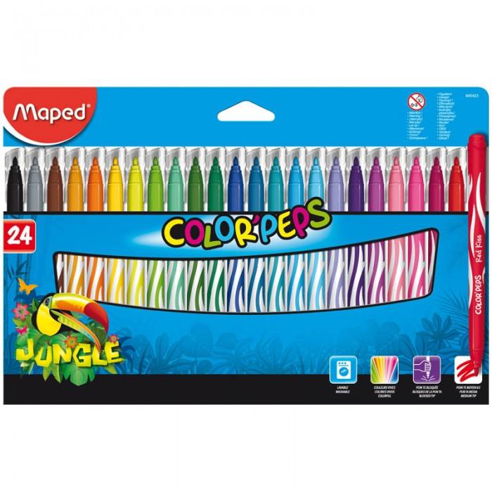 Фломастеры Maped Jungle 24 цвета фломастеры maped color peps ocean 12 цветов смываемые