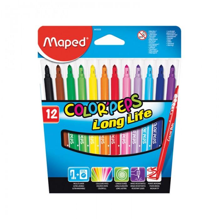 Фломастеры Maped Long Life 12 цветов фломастеры maped color peps ocean 12 цветов смываемые