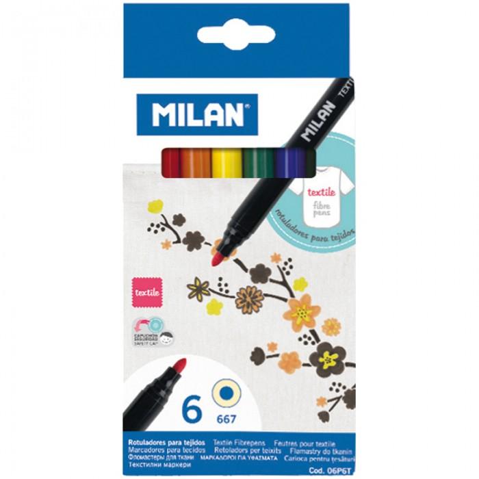 Фломастеры Milan по текстилю 667 6 цветов стразы knorr prandell swarowski для аппликатора по текстилю цвет сапфир 42 шт
