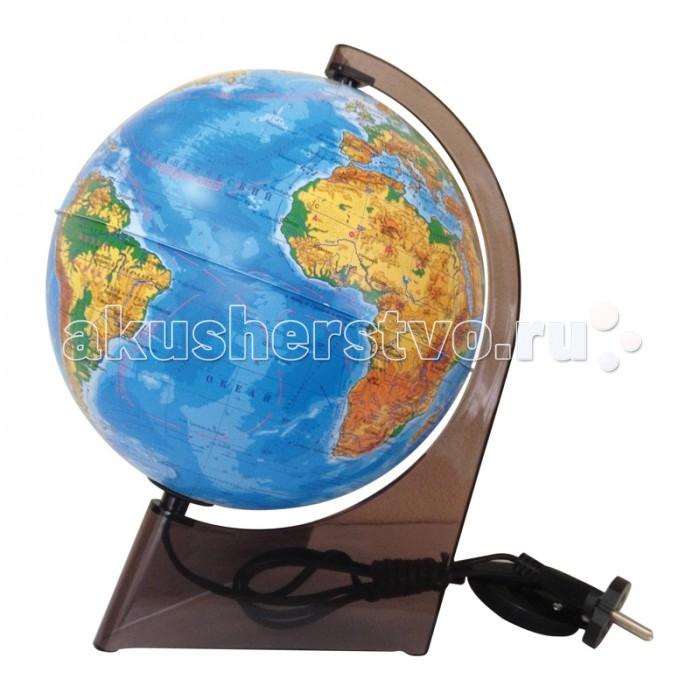 Развитие и школа , Глобусы Глобусный мир Глобус физический 21 см с подсветкой на треугольной подставке арт: 123629 -  Глобусы