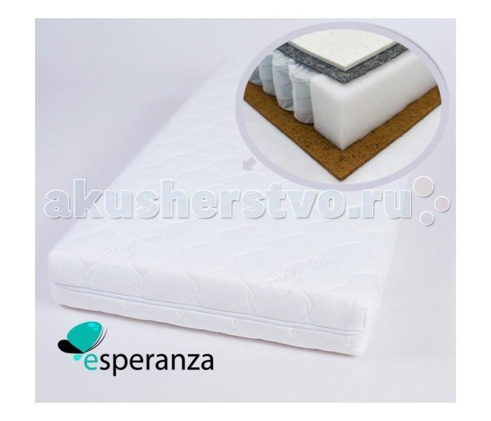 Матрас Esperanza Il Sonno 120х60х12Il Sonno 120х60х12Детский матрас Esperanza Il Sonno - пружинная модель с двусторонней жесткостью. Выполнен из натуральных и экологически чистых материалов.  Матрас состоит из: натуральных кокосовых волокон - 1 см пружинного блока - 10 см натурального латекса - 1 см  Натуральный латекс поддерживает среднюю жесткость. Натуральный наполнитель из волокон кокосового ореха прочный и долговечный материал. Хорошо вентилируется, не впитывает влагу и запахи. Антибактериальный. Чехол матраса служит декоративным и функциональным обрамлением, простеганная на синтепоне ткань добавляет комфортности, предотвращает износ.  Основа - Независимый пружинный блок Основное преимущество данного блока - каждая пружина находится в отдельном чехольчике, а не жестко соединена с соседней. Это исключает колебания конструкции, и благодаря воздействию каждой пружины на тело, нагрузка распределяется по всей площади равномерно, что обеспечивает «индивидуальный подход» к разным участкам тела, придавая всему матрасу особо выраженный анатомический эффект. Спанбел жесткая прокладка, которая устанавливается между пружинным блоком и настилочными материалами, предохраняет более мягкие настилочные материалы, а также обивку, от пружин.  Кокосовая койра. Кокосовая койра известна эластичностью, прочностью и долговечностью. Помимо прочности и износоустойчивости, кокосовые матрасы обладают рядом таких преимуществ, как гипоалергенность, влагоустойчивость (кокосовая койра не впитывает воду) и воздухопроницаемость.  Латекс натуральный. Латекс - это тоже натуральный материал - вспененный сок каучукового дерева. Он очень упругий, поэтому прекрасно восстанавливает первоначальную форму. Он также выполняет главное условие ортопедических матрасов.<br>