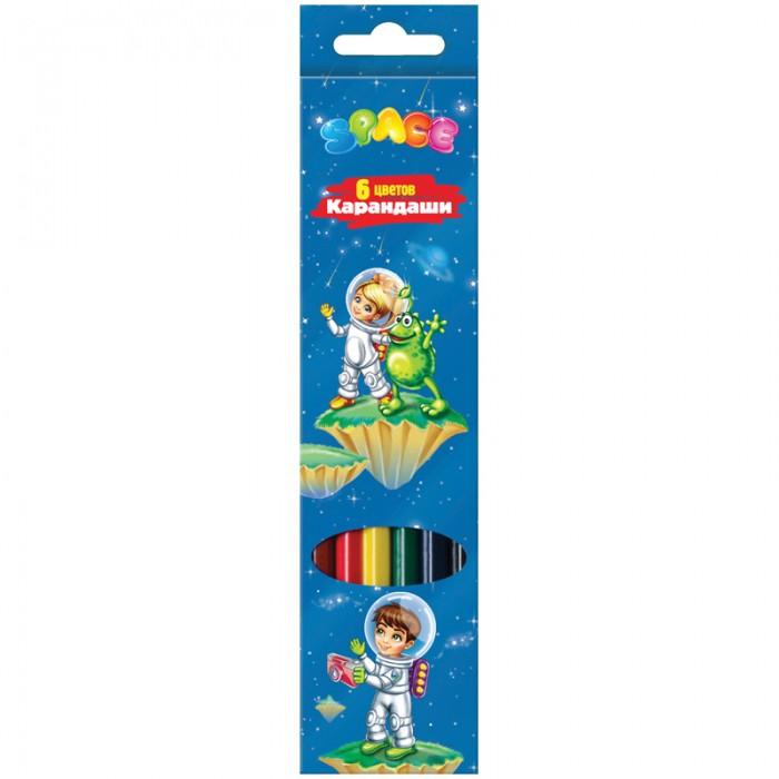 Карандаши, восковые мелки, пастель Спейс Карандаши Космонавты 6 цветов карандаши восковые мелки пастель berlingo карандаши жил был кот 6 цветов
