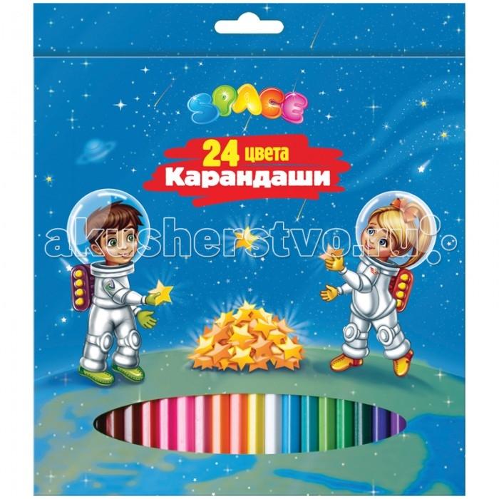 Карандаши, восковые мелки, пастель Спейс Карандаши Космонавты 24 цвета карандаши восковые мелки пастель спейс карандаши зверята 18 цветов