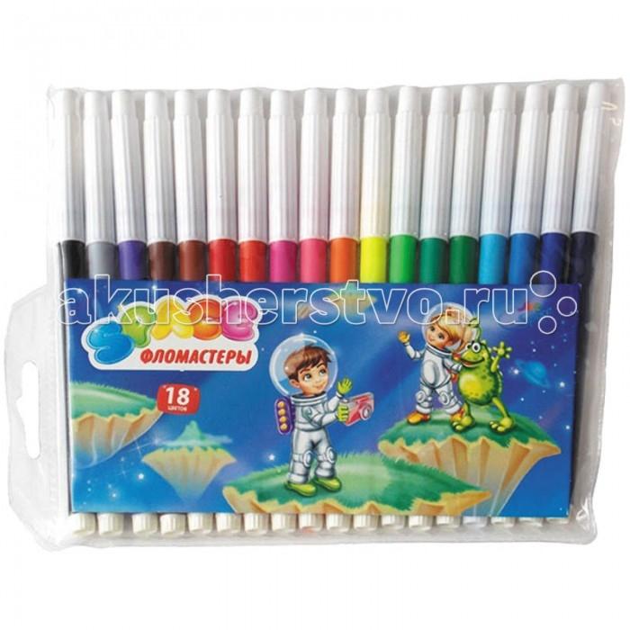Фломастеры Спейс Фломастеры Космонавты 18 цветов фломастеры bic kids visa 18 цветов